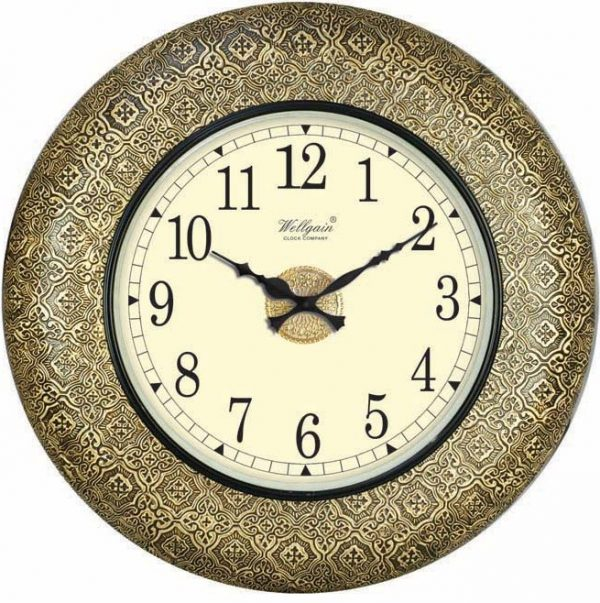 Wellgain VM-B-263 Hand Carved Brass Clock with One Year Warranty Made in India