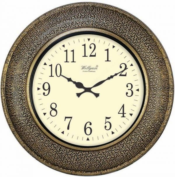 Wellgain VM-B-266 Hand Carved Brass Clock with One Year Warranty Made in India