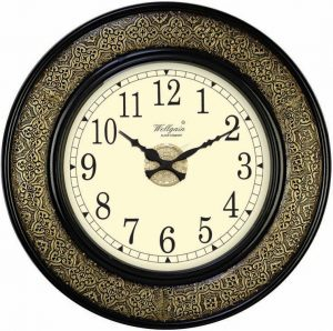 Wellgain VM-B-269 Hand Carved Brass Clock with One Year Warranty Made in India