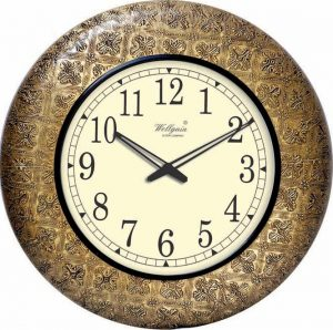 Wellgain VM-B-283 Hand Carved Brass Clock with One Year Warranty Made in India