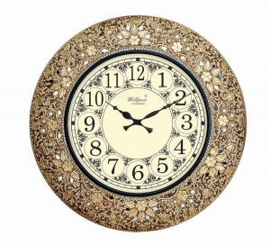 Wellgain VM-MQ-402 Hand Carved Mosaque Clock with One Year Warranty Made in India